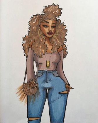 Ebony 🌻 art drawing illustration blackart blackgirlsrock bl